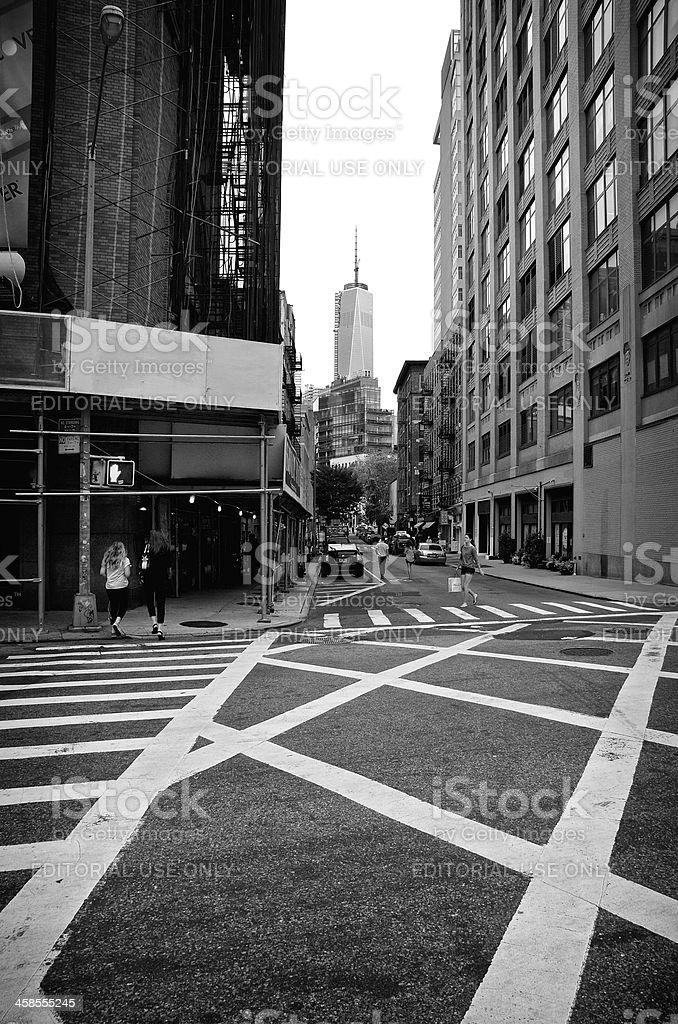 Pedestrians, ONE WTC Cityscape, SoHo, Manhattan, NYC stock photo