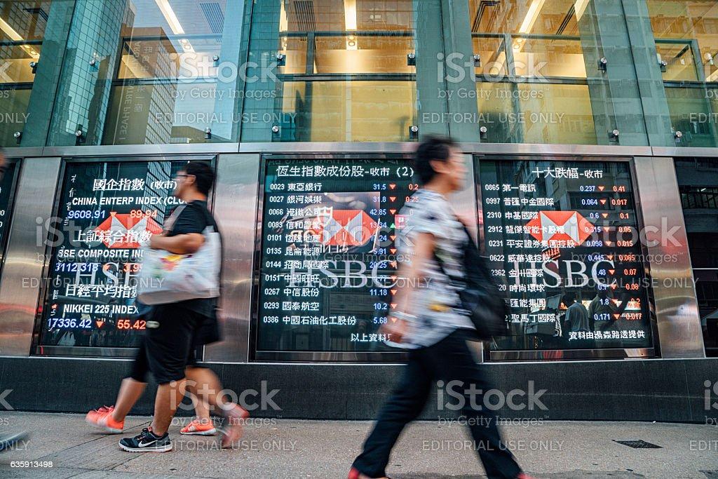 Pedestrians walk past a financial display board im Hongkong stock photo