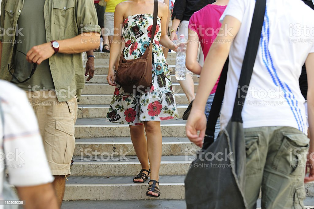 Pedestrians walking down the stairs royalty-free stock photo