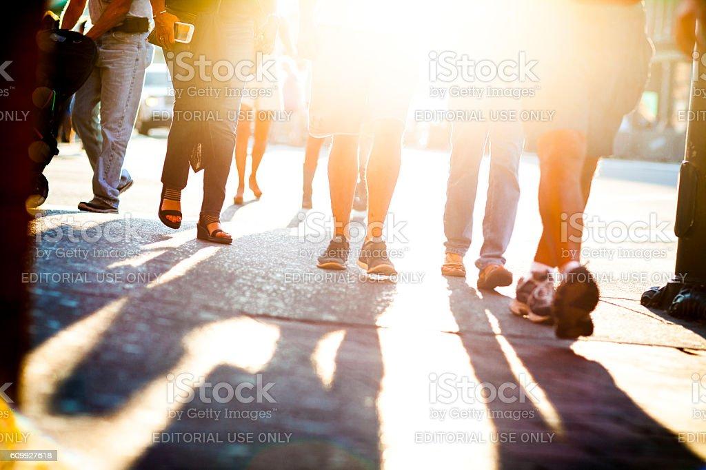 Pedestrians walking on Lower Broadway Street in downtown Nashville stock photo