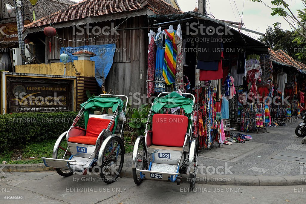 pedicab at Hoi An old town stock photo