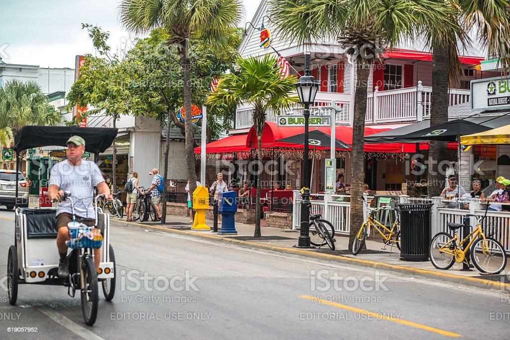 Pedicab on Duval Street, Key West, Florida, USA stock photo