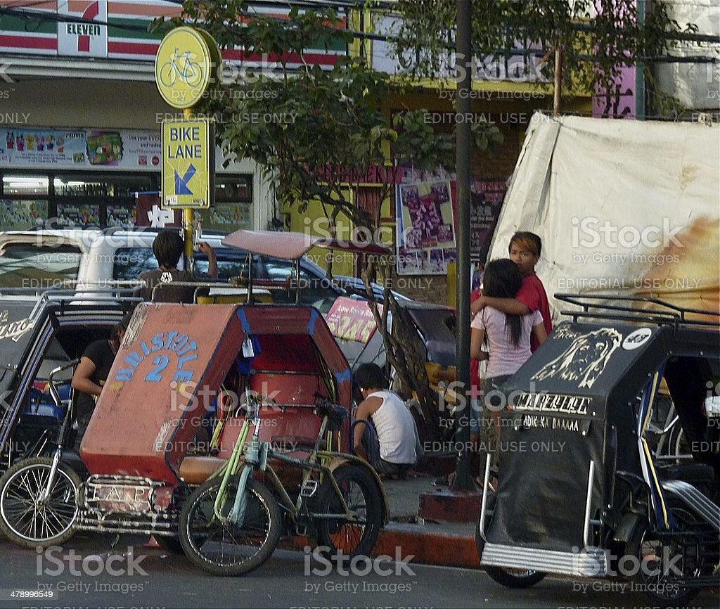 pedicabs in Manila, Philippines stock photo
