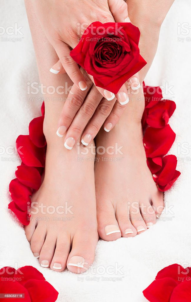 Pedicure Manicure Spa Feet Hands Red Roses royalty-free stock photo