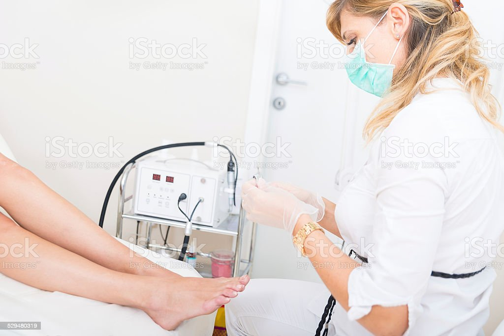 Pedicure treatment stock photo