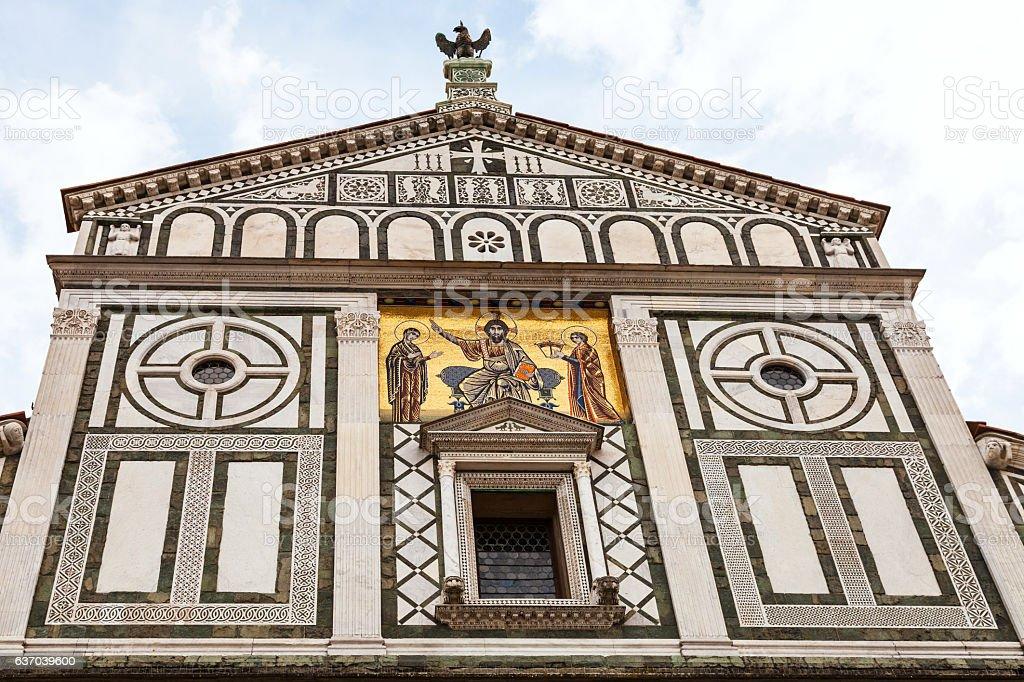 pediment of Basilica San Miniato al Monte stock photo