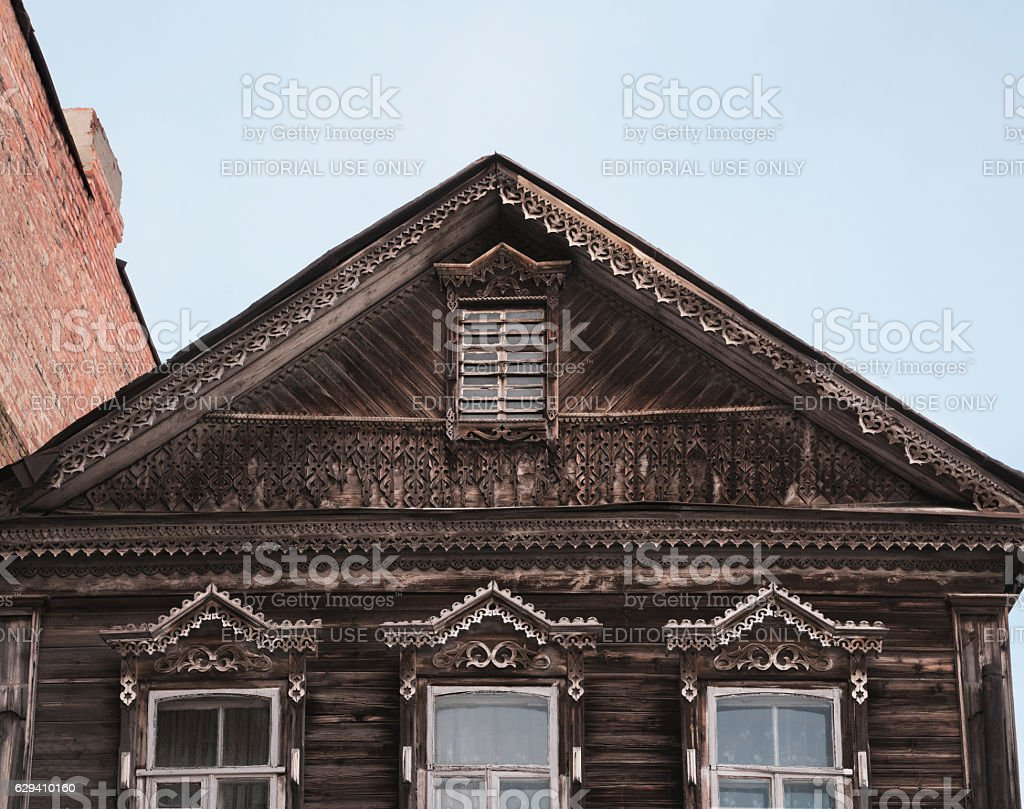 Pediment of the old Russian wooden building. Astrakhan, Russia stock photo