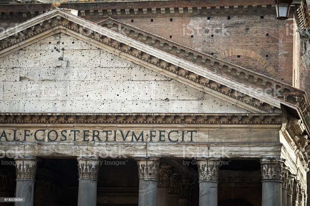 Pediment of the temple to all the gods in Rome stock photo