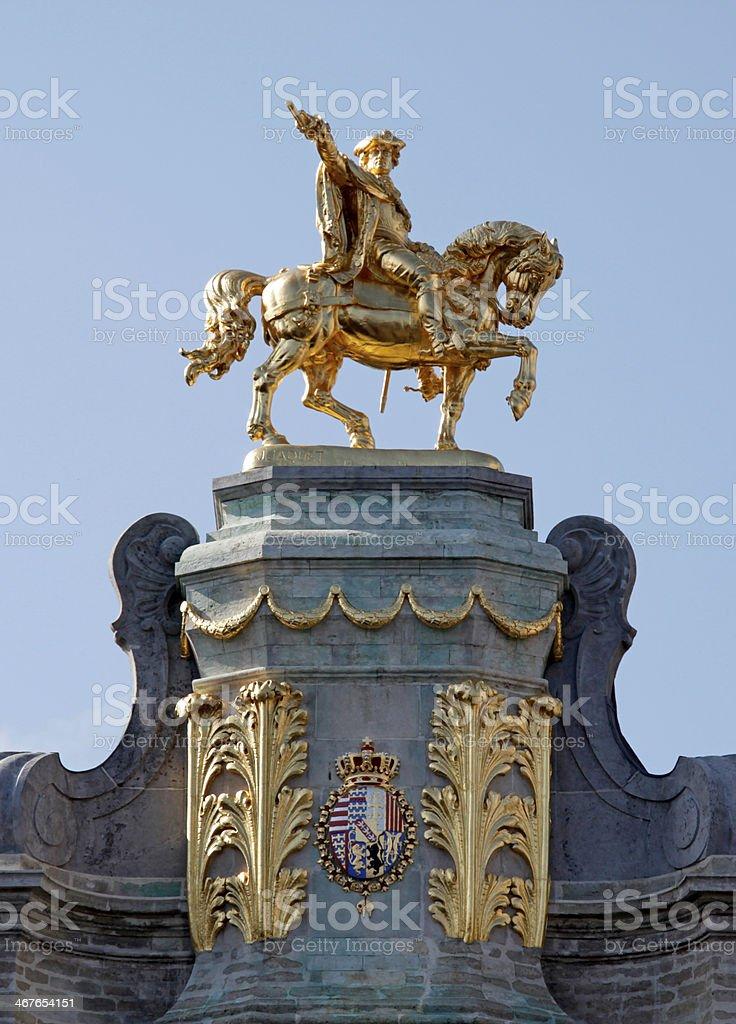 Pediment ornament, 'Golden Tree' Guild House, Grand Place, Brussels, Belgium. stock photo
