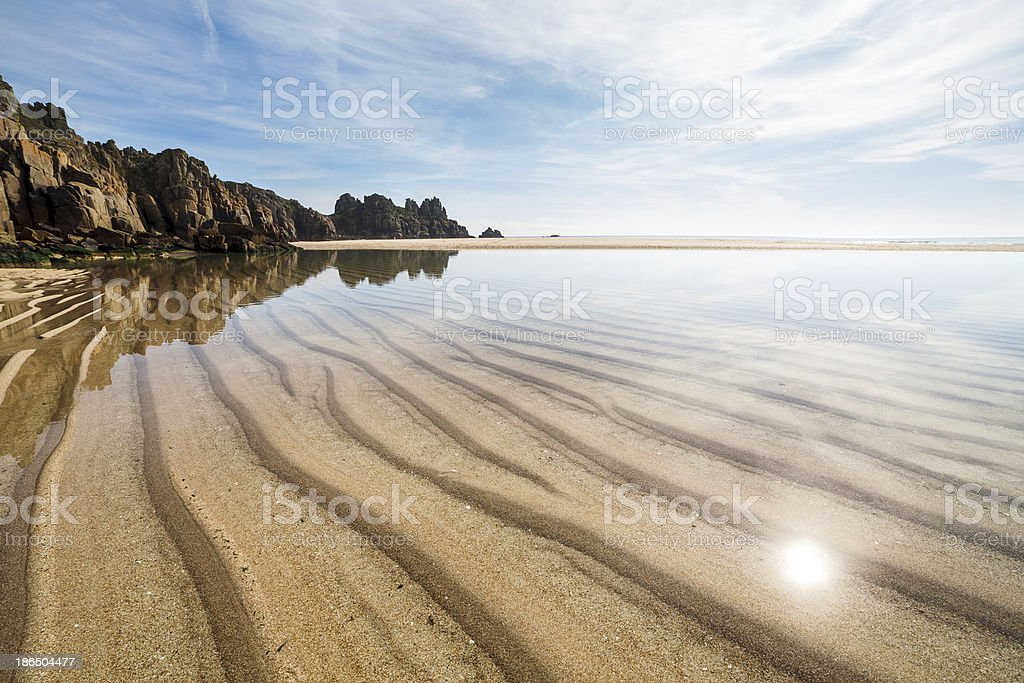 Pedn Vounder Beach Cornwall England stock photo