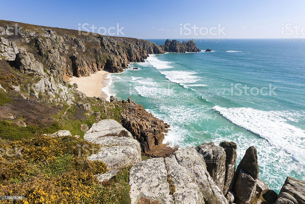 Pedn Vounder plage Cornwall photo libre de droits