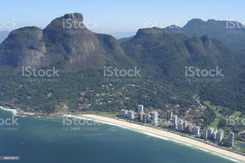 Pedra da G?vea and S?o Conrado beach in Rio stock photo