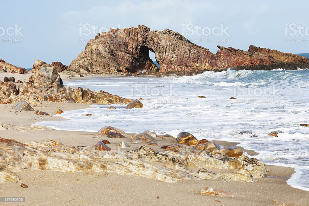 Pedra Furada in Jericoacoara Brasil stock photo
