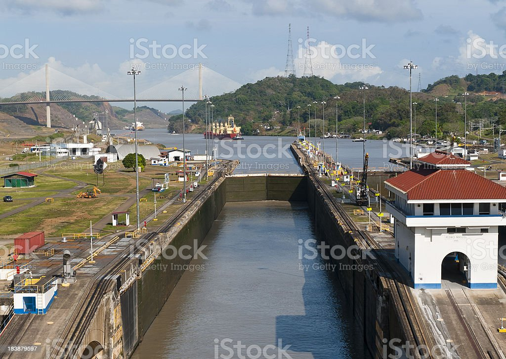 Pedro Miguel Locks Panama Canal stock photo