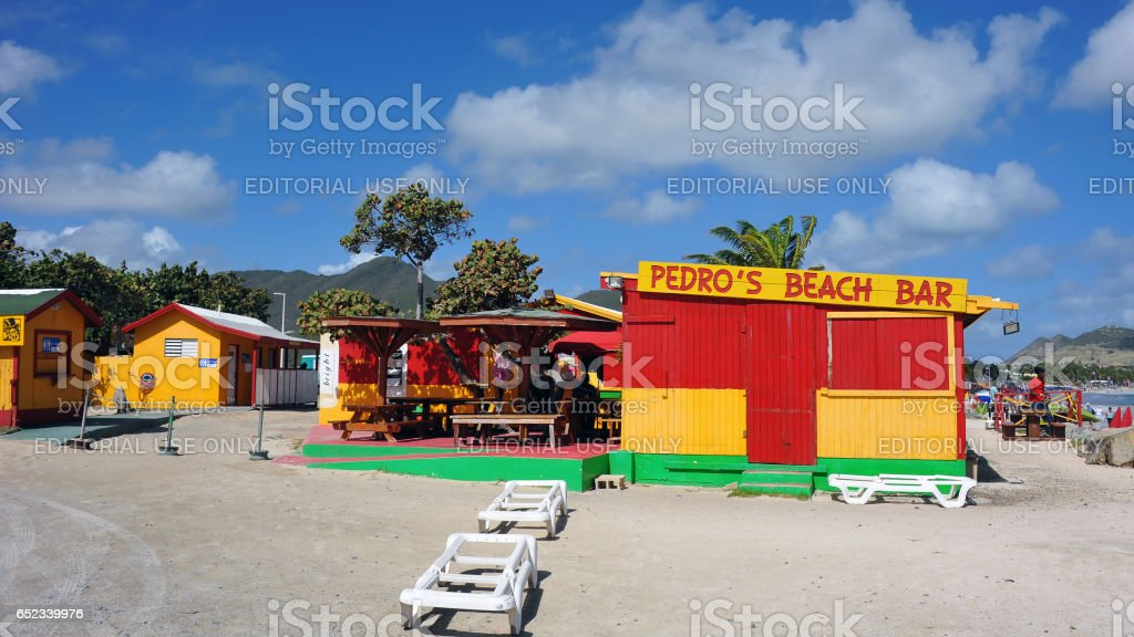 Pedro's Beach Bar in St. Martin stock photo