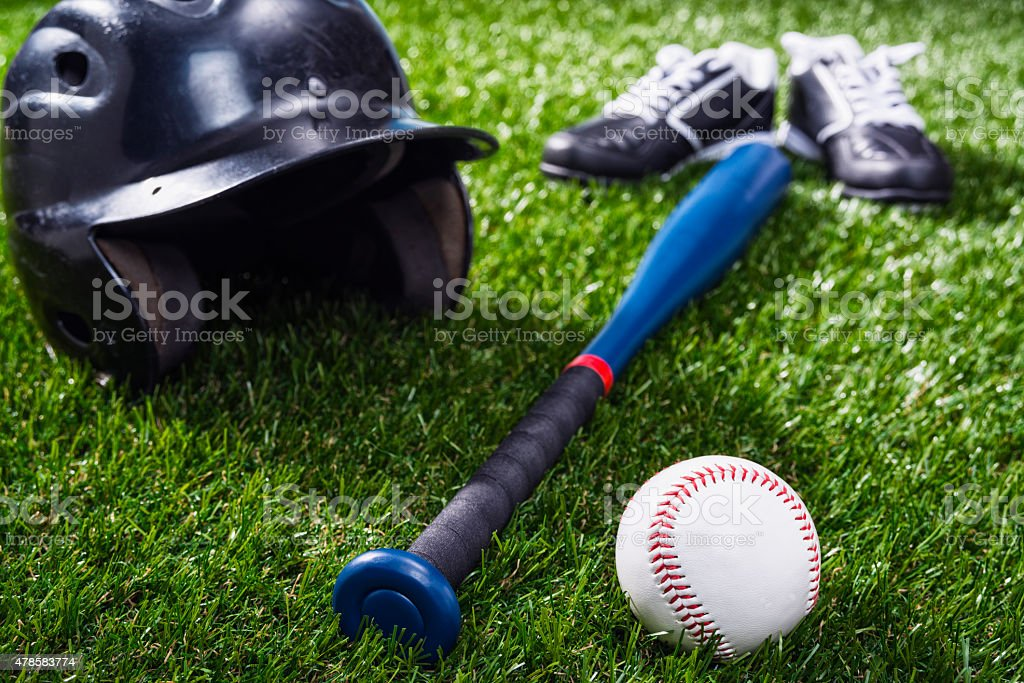 Pee Wee or Little League Baseball equipment stock photo