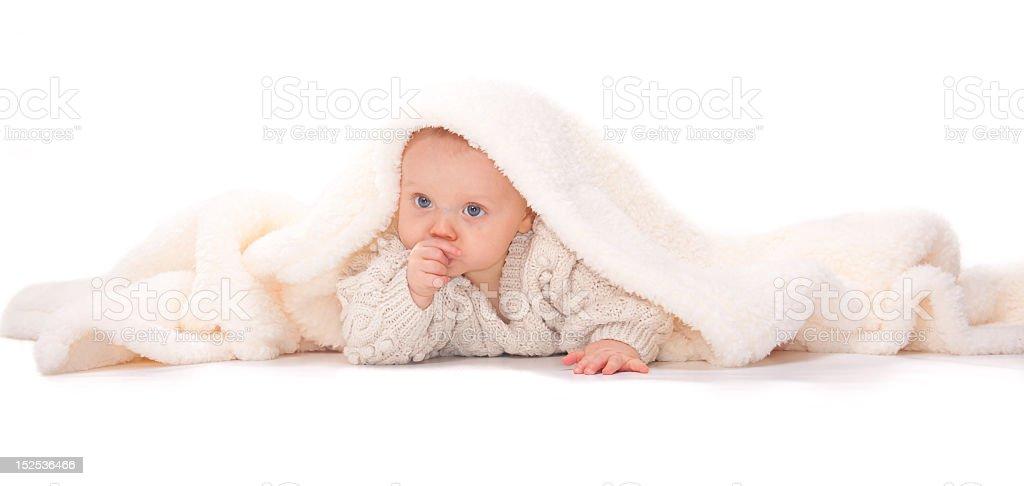 Peek a boo- baby peeps out from under  sheepskin blanket stock photo