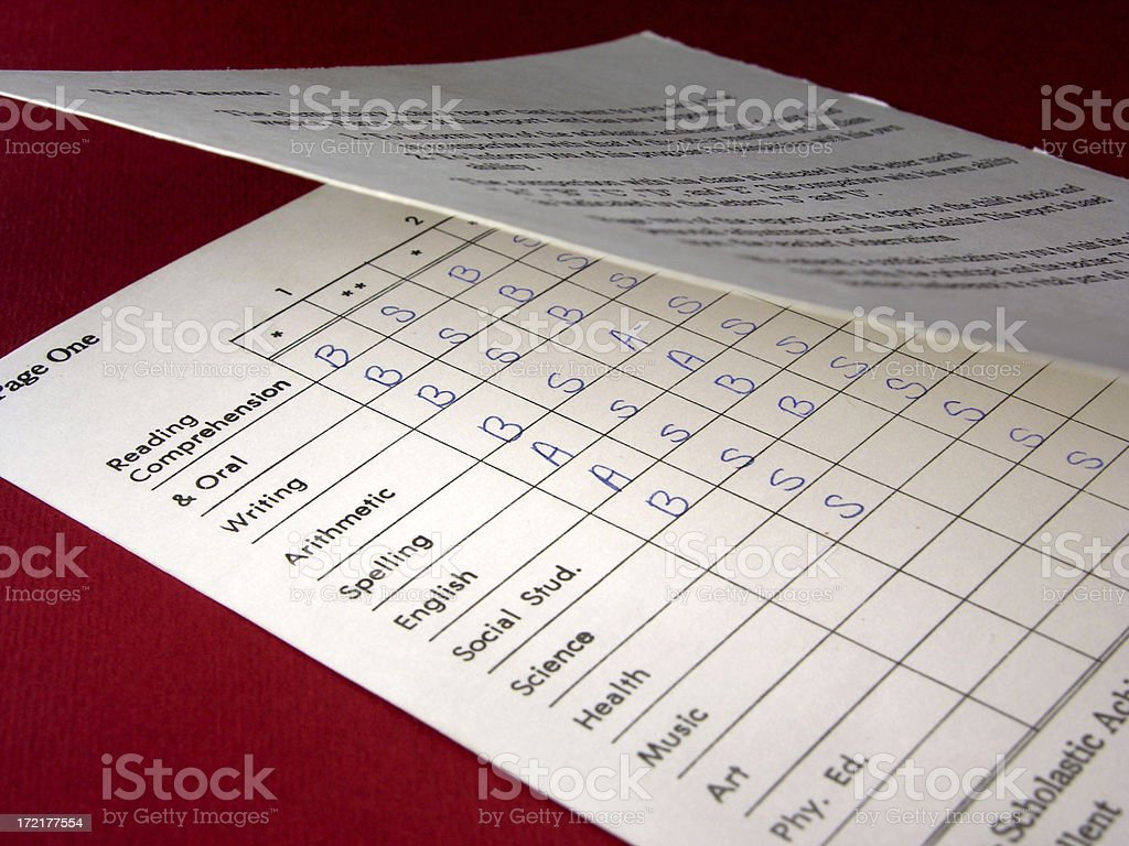 Peek into a report card stock photo