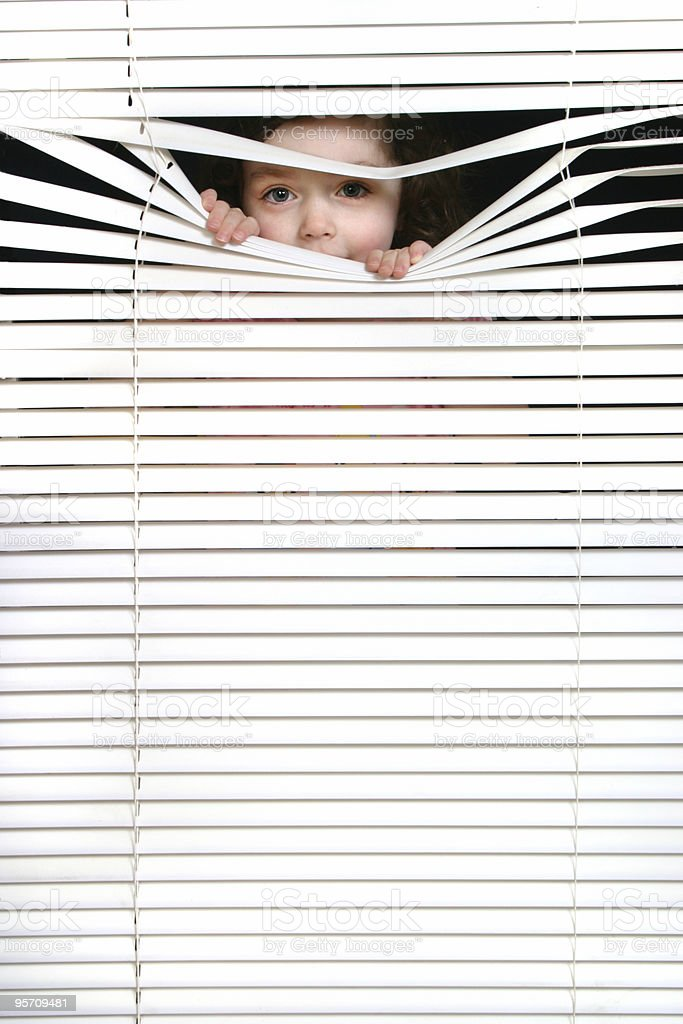 peeking girl 2 stock photo