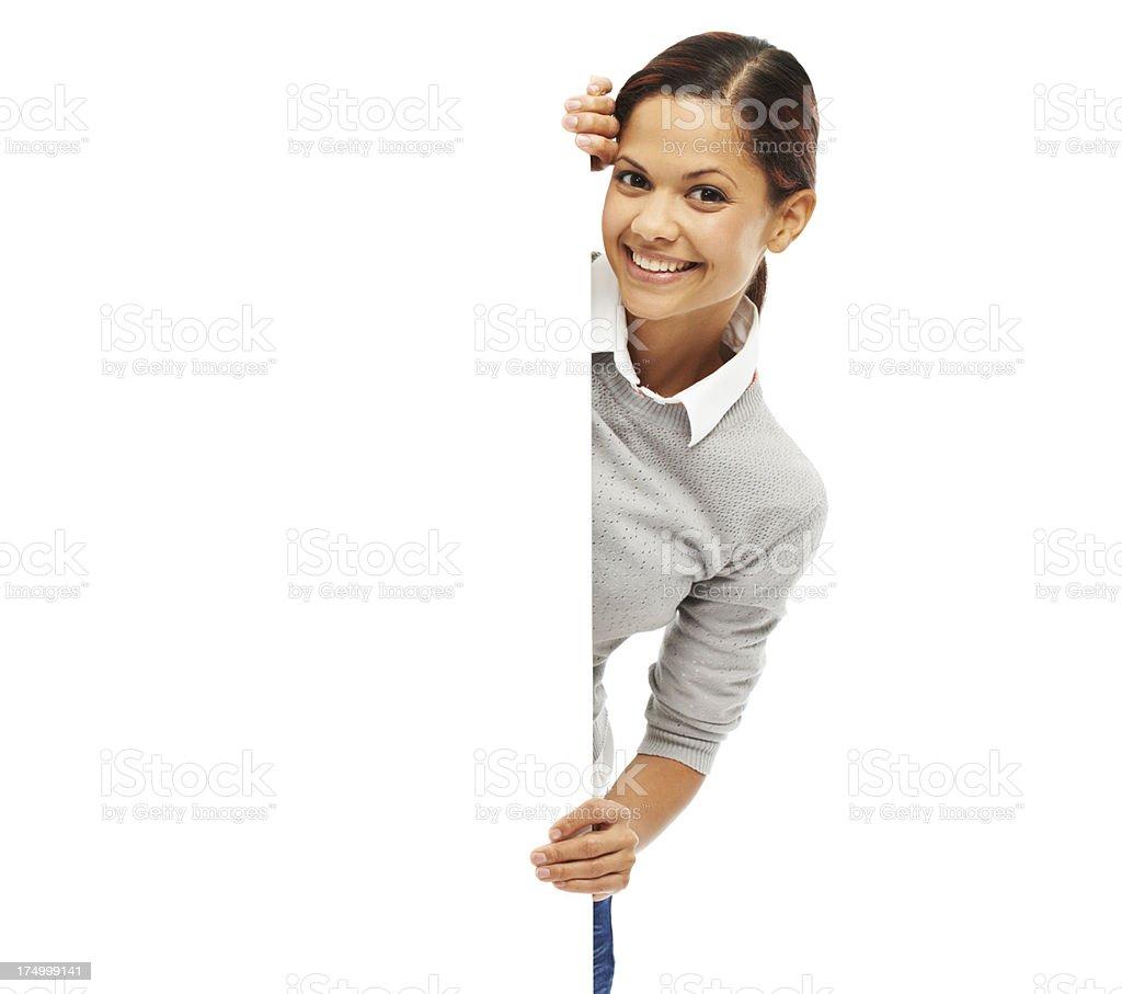 Peeking out behind copyspace royalty-free stock photo