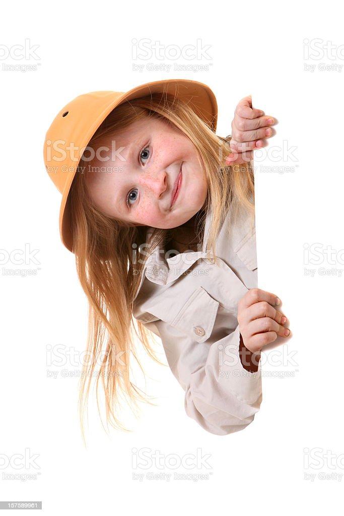 peeking safari girl stock photo