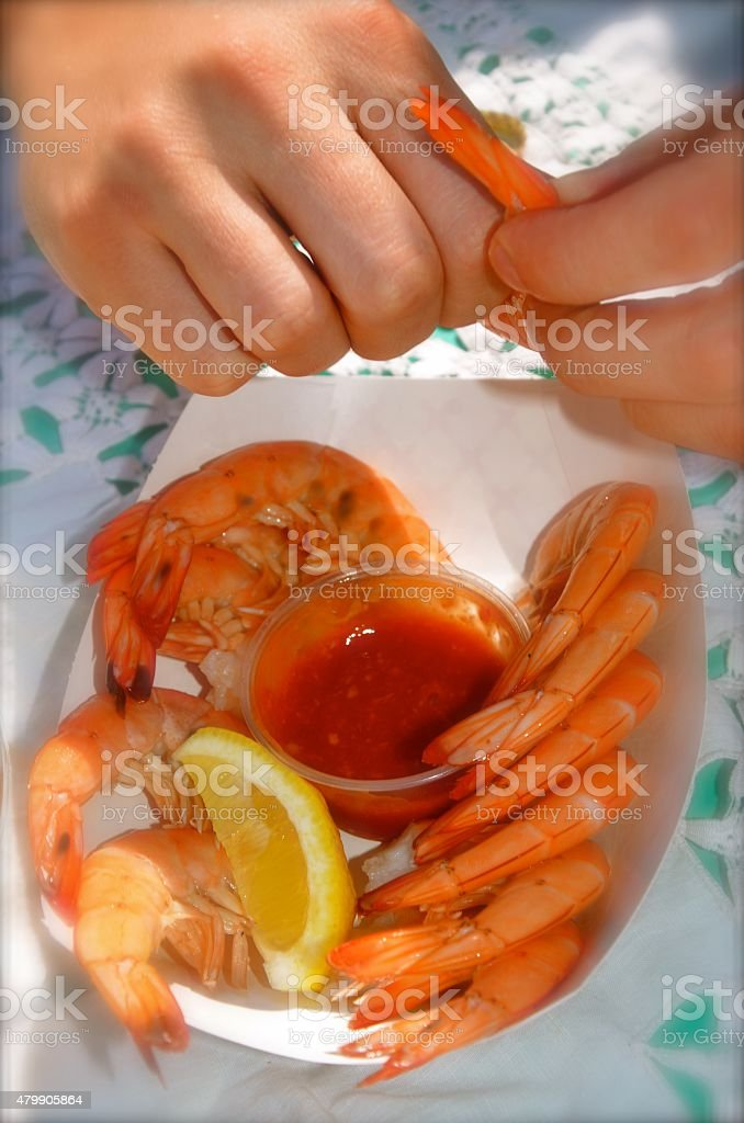 peel and eat shrimp in New Hampshire stock photo