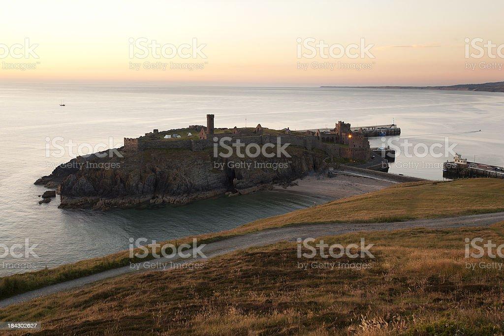 Peel Castle at Dusk, Isle of Man royalty-free stock photo