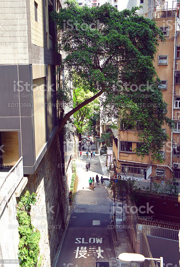 Peel street of Mid Levels at Hong Kong stock photo