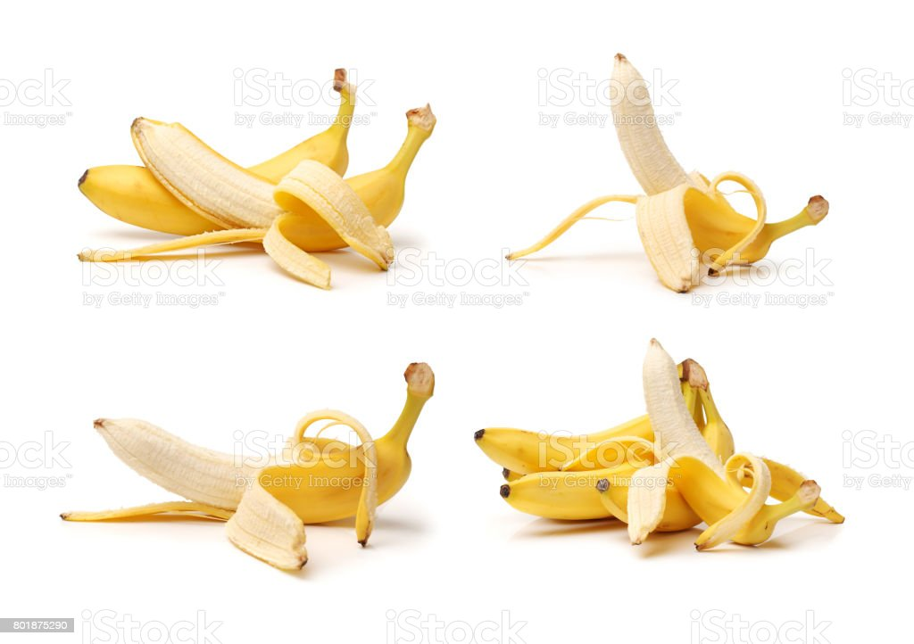 Peel the bananas  isolated on white background stock photo