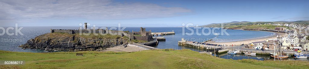 Peel Town panorama, Isle of Man stock photo