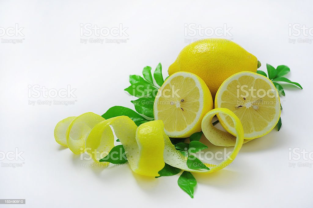 peeled and cut in half lemon royalty-free stock photo