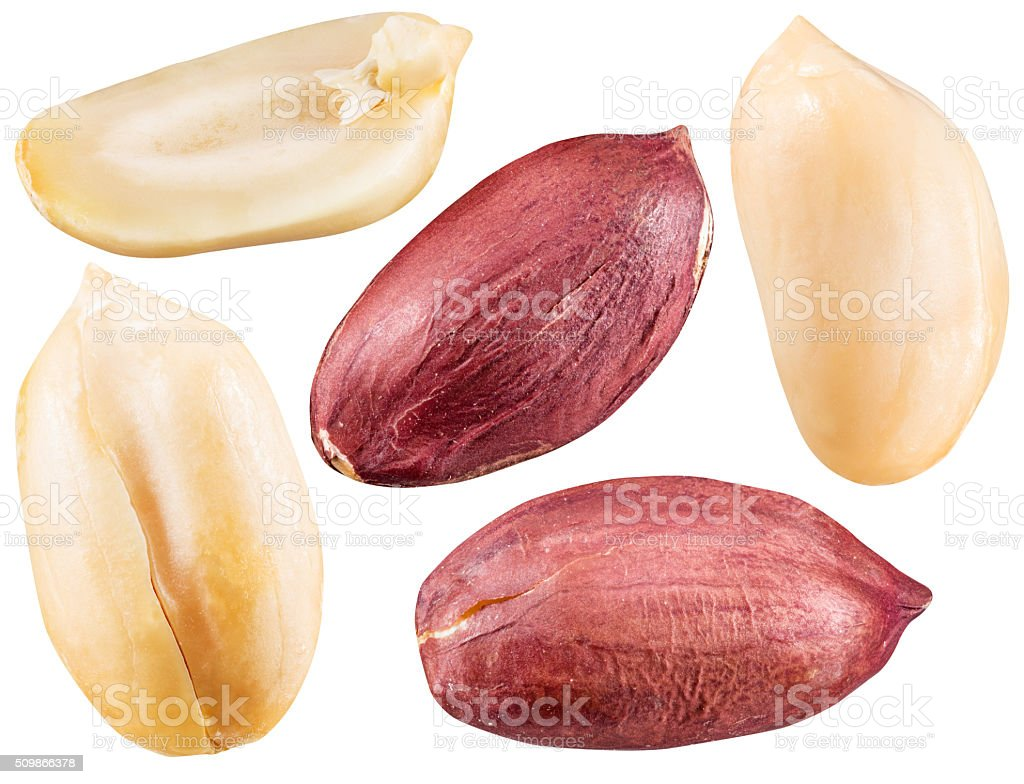 Peeled and opened peanuts. stock photo