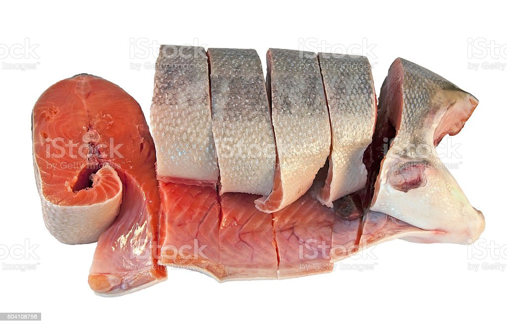Peeled and sliced coho salmon stock photo