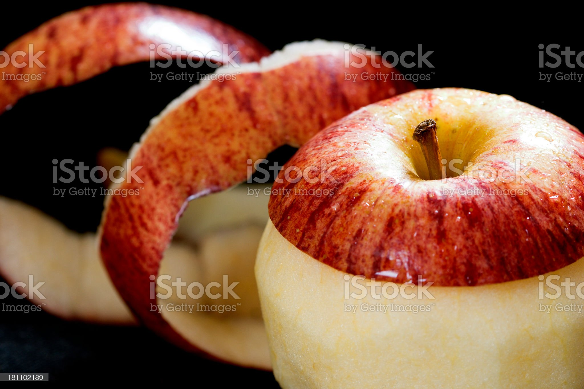 peeled apple royalty-free stock photo