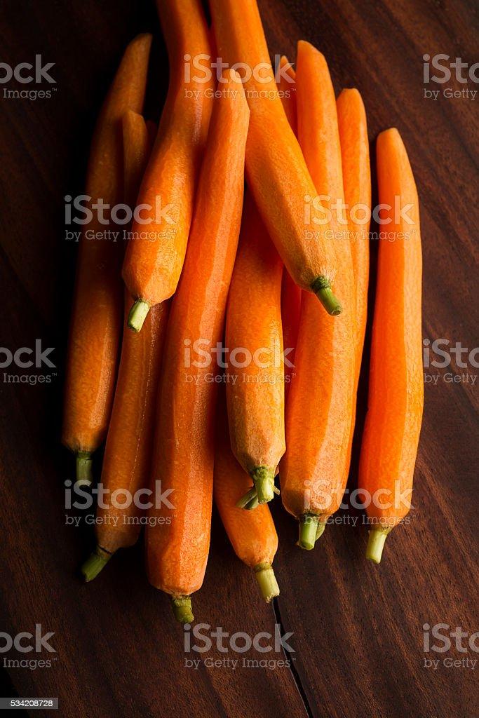 Peeled Baby Carrots stock photo
