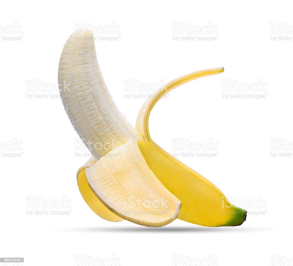peeled banana isolated on white background stock photo