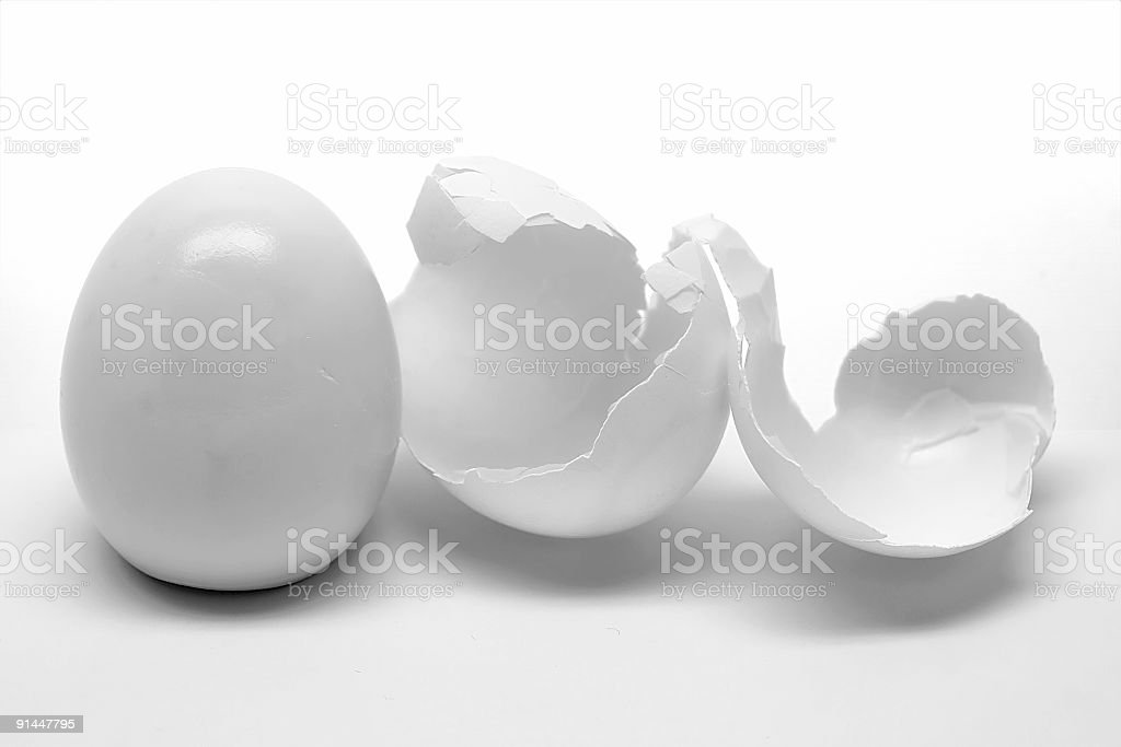 Peeled egg with shell stock photo