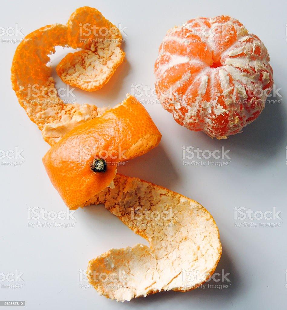 Peeled mandarin orange close up stock photo