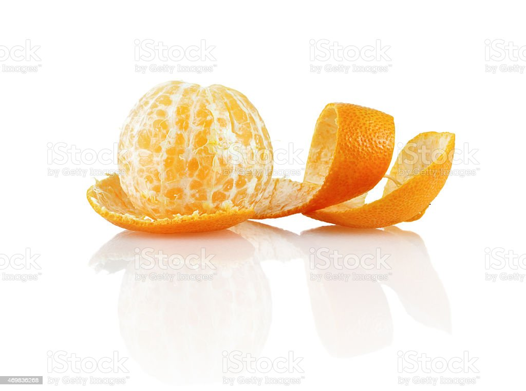 Peeled mandarin stock photo