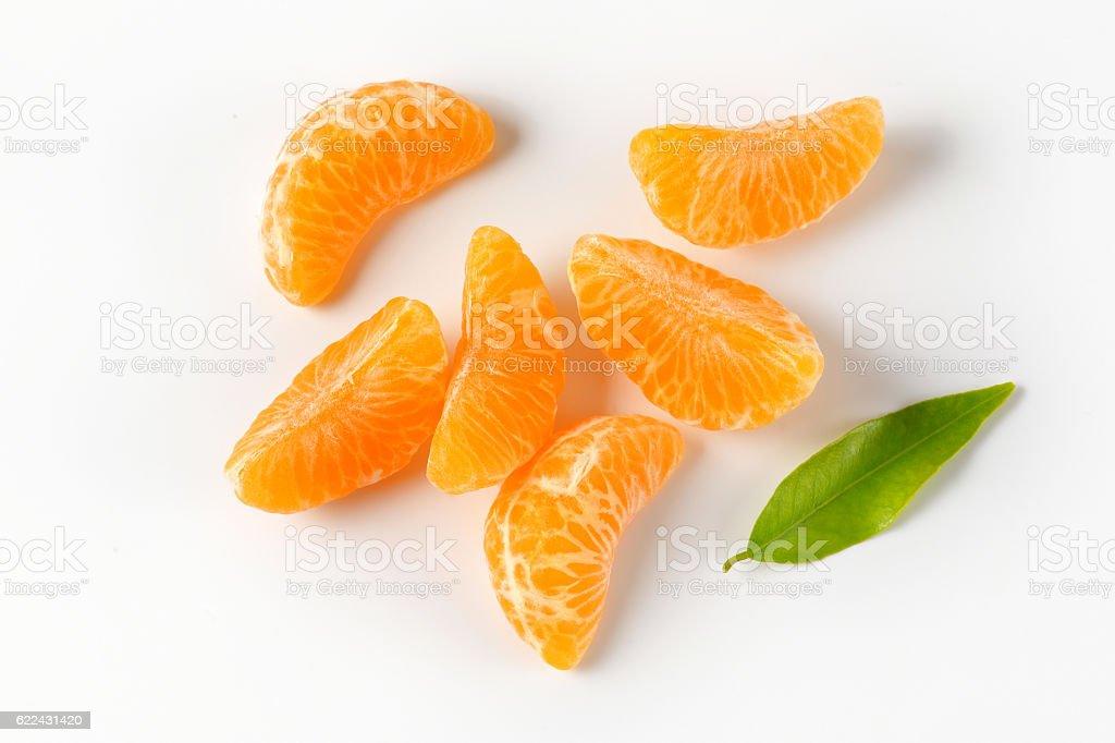 Peeled mandarin segments stock photo