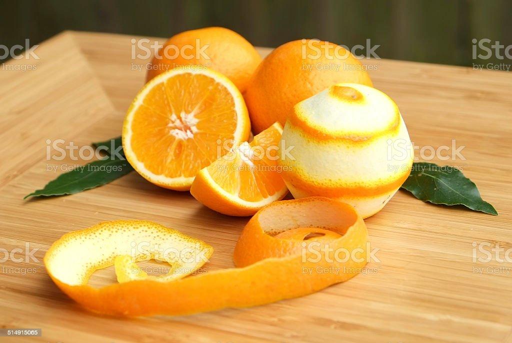 Peeled Oranges stock photo