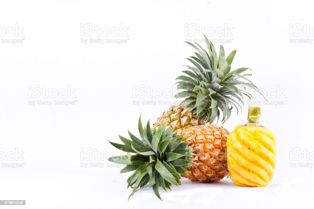 peeled  pineapple  on white background healthy pineapple fruit food isolated stock photo