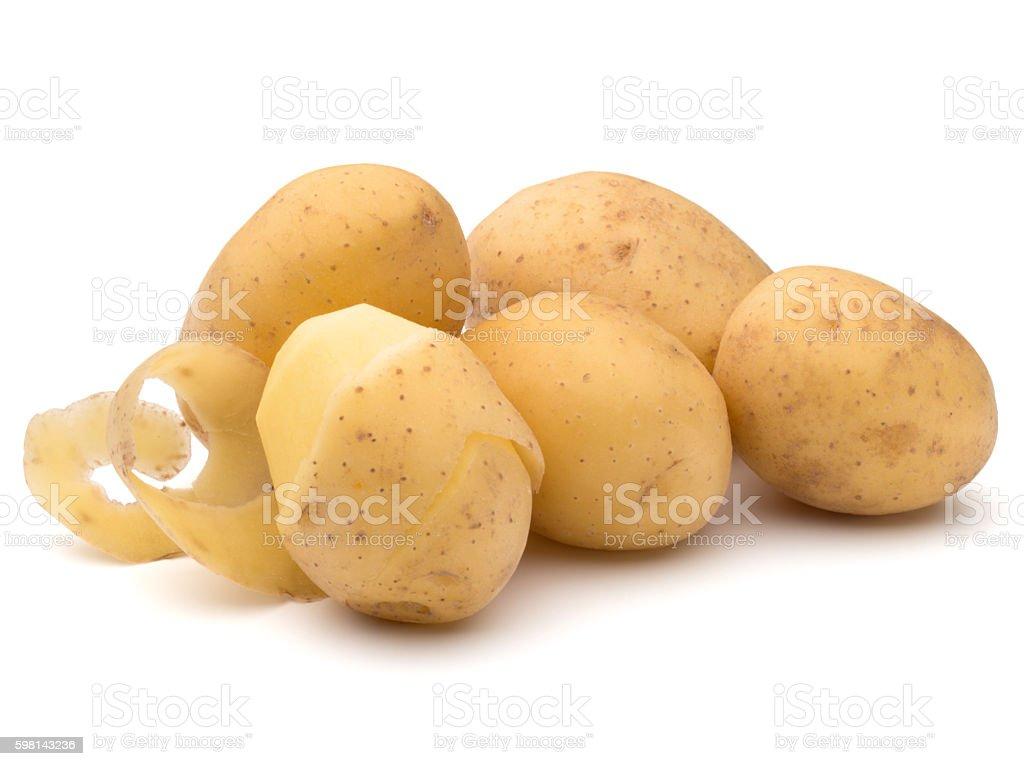 peeled potato tuber with peel spiral isolated stock photo