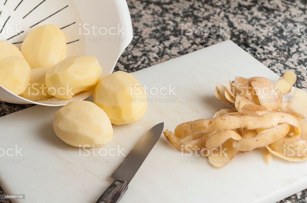 peeled potatoes series 04 stock photo