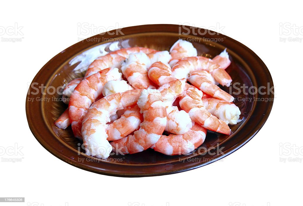 Peeled red shrimps on the plate royalty-free stock photo