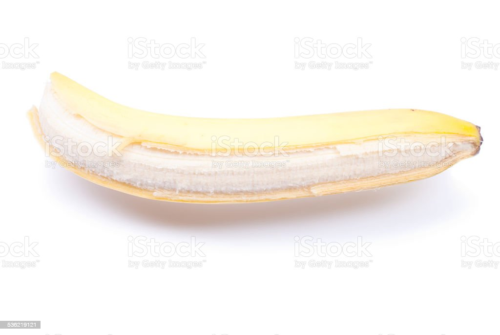 peeled ripe banana isolated on a white background with shadow stock photo