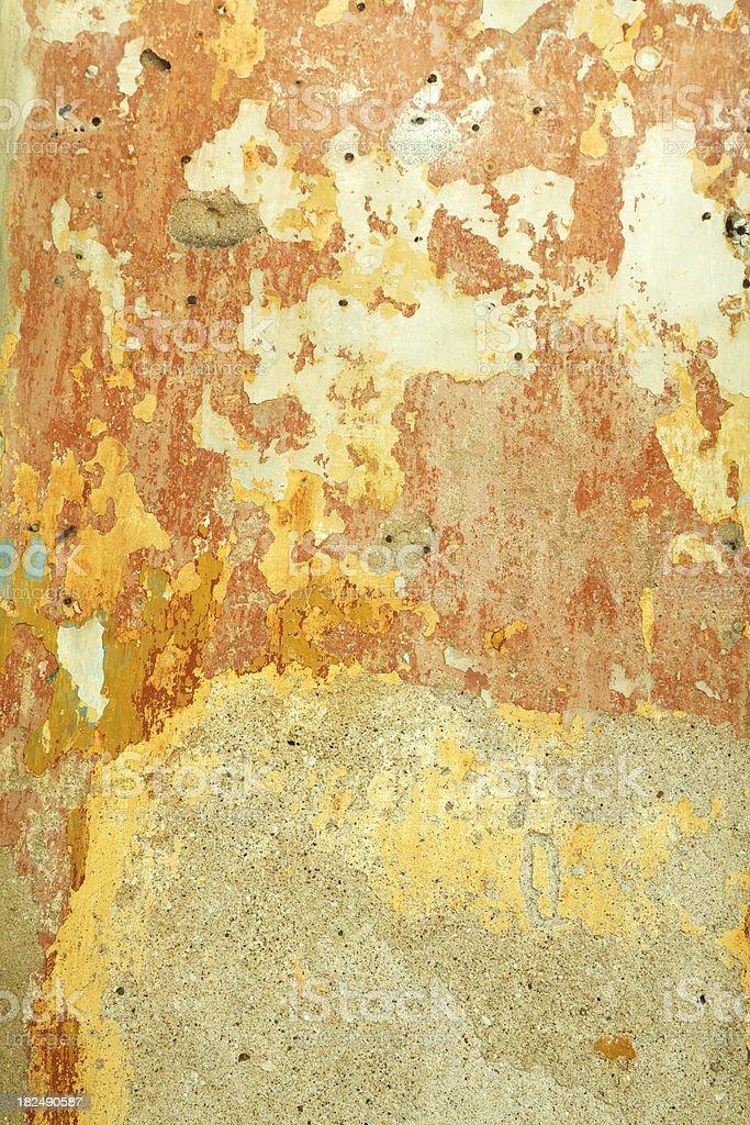 Peeling Cracked Wall With Remanants of Orange Paint, Grunge, Background royalty-free stock photo