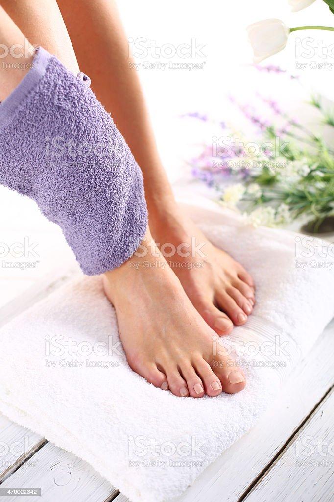 Peeling feet pedicure treatment stock photo