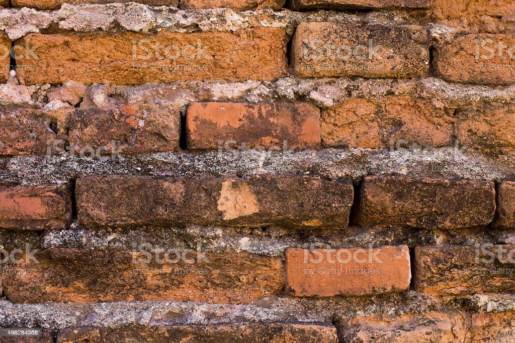 Peeling of brick wall stock photo