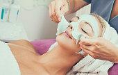 Peeling of facial mask.